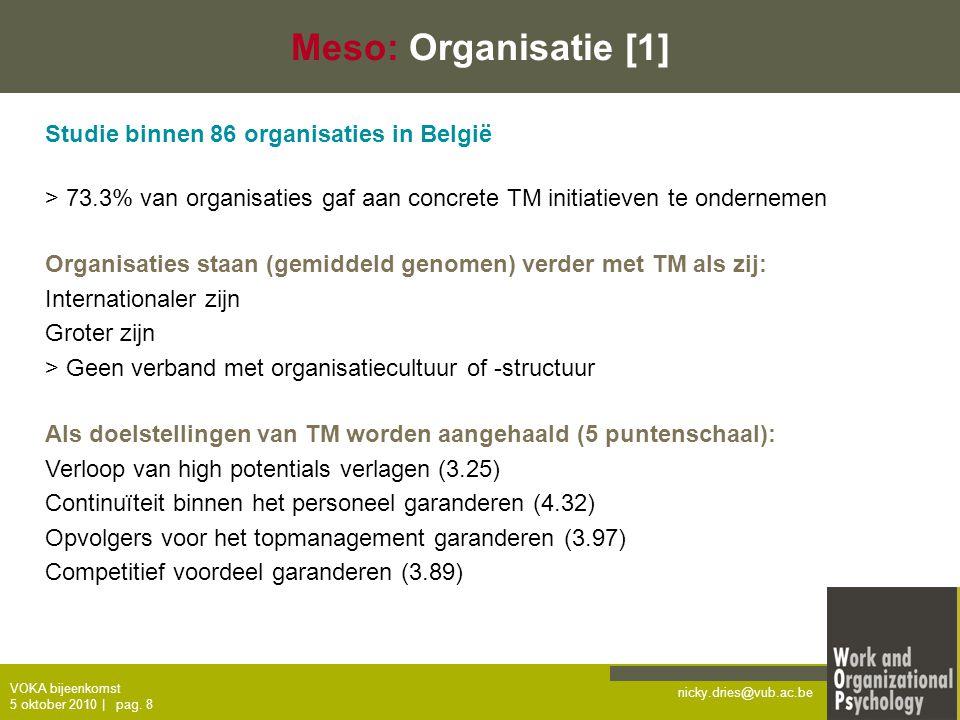 Meso: Organisatie [1] Studie binnen 86 organisaties in België